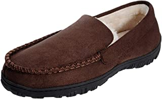 festooning Mens Microsuede Moccasin House Slippers