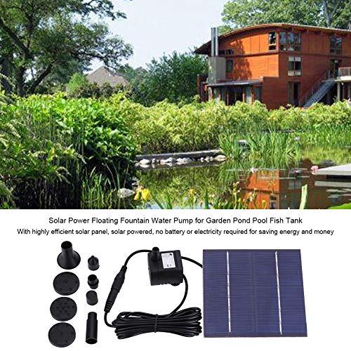 Solarbrunnenpumpe Solarbetriebene Wasserpumpe 7 V, 1,2 W, Bewässerung im Freien für Vogelbad, Teich, Pool, Terrasse, Rasen und Gartendekoration, 200 l/h, max. 60 cm Wasserhöhe