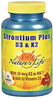 Nature's Life Strontium Plus Vitamins D3 & K2 | Bioavailable Formula May Help Support Healthy Bone Density & Joint Health ...