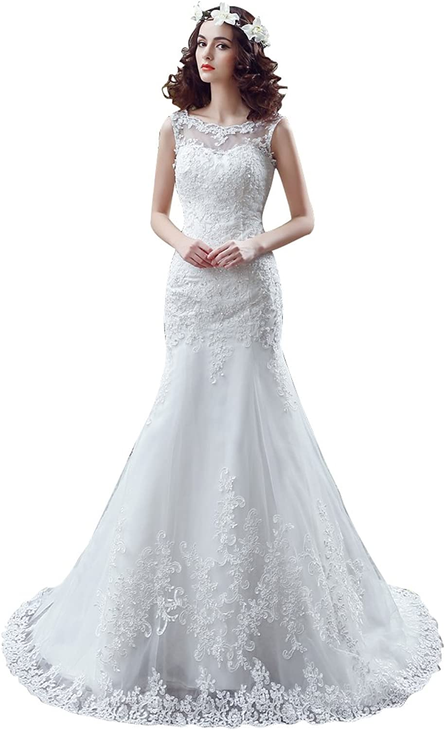 BeautyEmily Lace Sleeveless ONeck Chapel Train Button Wedding Gowns