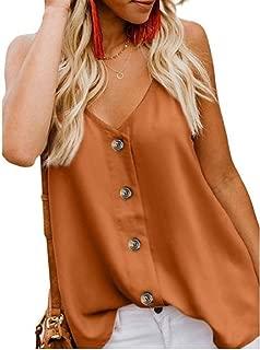 FSSE Women's V Neck Spaghetti Strap Button Down Summer Tank Top Cami Blouse Shirt