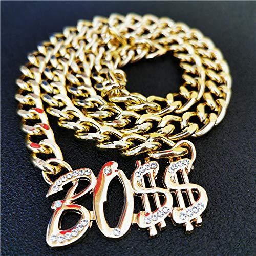 guodong Dólar Estadounidense Hip Hop Collar De Diamantes De Imitación Anillo De Dólar De Oro Anillo De Hombre Collar De Jefe