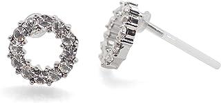 Rhinestone Crystal Hoop Resin Studs Earrings Hypoallergenic Nickel Free White Pearl Plastic Post Earrings Open Circle Tear...