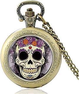 New Steampunk Flower Skull Design Glass Cabochon Quartz Pocket Watch Vintage Men Women Pendant Necklace Chain Yang (Color ...