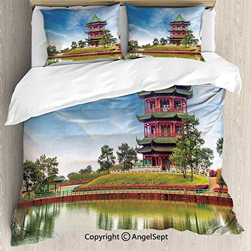 3-teiliges Bettgarnitur mit Bettbezug, leuchtendem Himmel und See mit antiker Baumeinfassung Traditionelle asiatische Wohnkultur, leichte Tagesdecke für Frühling und Sommer, Rot, Grün, Blau