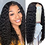 """4x4 Deep Wave Lace Front Wigs Brazilian Human Hair Glueless Lace Closure Wig Pre Plucked for Black Women 150% Density Natural Color (18"""")"""