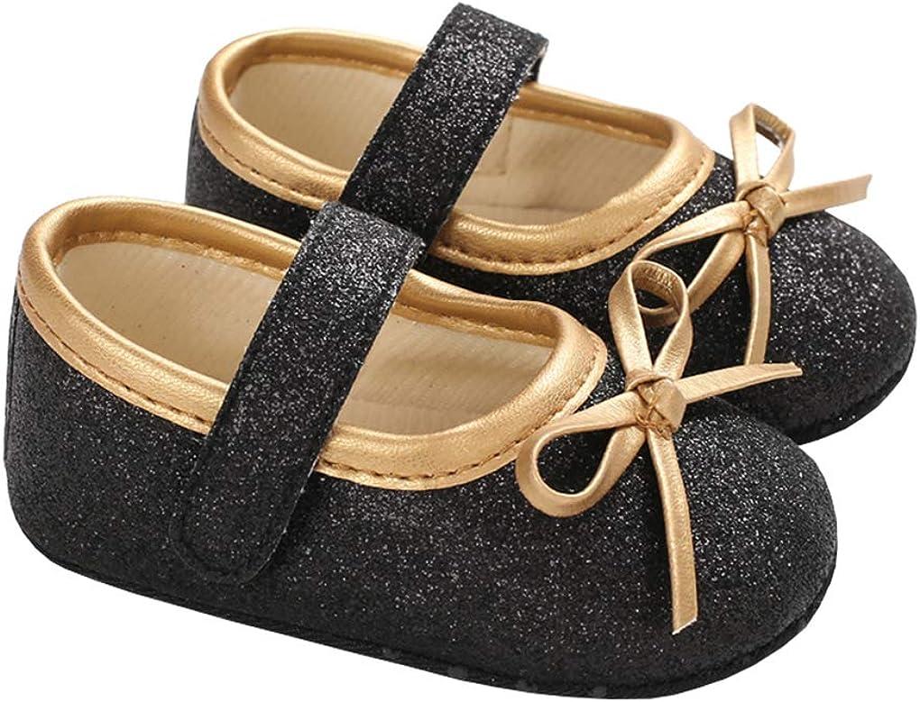 lakiolins Baby Girl Shiny Sequin Princess Dress Shoes Glitter Bowknot Mary Jane Crib Shoes