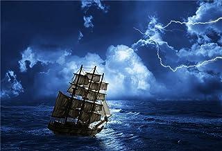 BuEnn 7x5ft Der Hintergrund der Piratenschiffe in Stürmen Vintage Corsair Boat Fotografie Hintergrund Düstere Nacht Old Marine Board Nautischen Stil Fotostudio Requisiten Junge Kind Porträt Vedio
