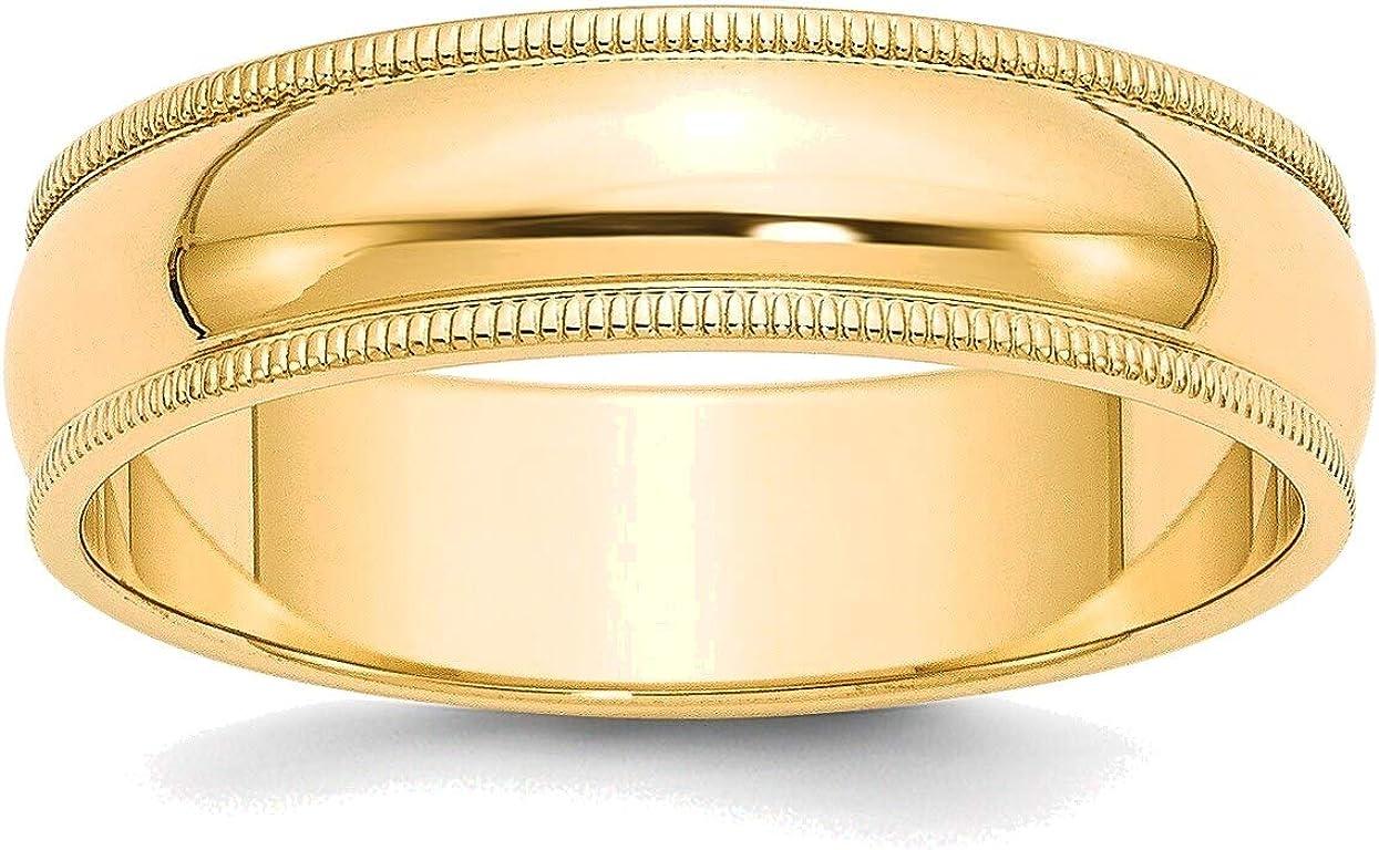 6mm Milgrain Excellent Half-Round Wedding Band in Size 14K Max 55% OFF Gold Yellow