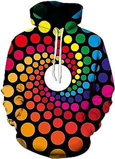 ToaME メンズセーター まばゆいばかりの万華鏡柄プリント フード付き長袖 秋と冬 ファッションカジュアル ご注意 毎日のレジャー カップル着用 ゆるい 大きいサイズ トップ
