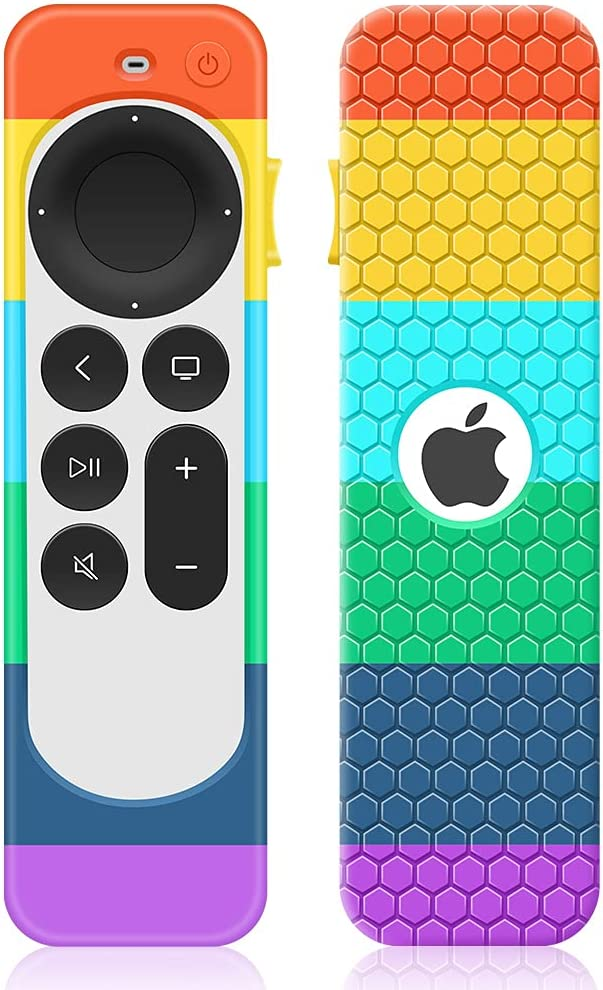 Case for Apple TV 4K 2021 Remote Control,Cover for Siri Remote 2nd Generation/Apple TV 6 Generation Replacement Silicone New Sleeve Skin Holder Protective Grip Protector-Rainbow