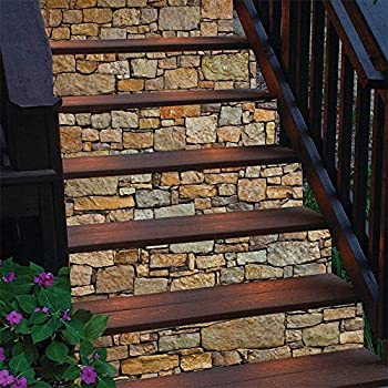 3D Brick Stair Stickers Decals Stone Staircase Decals Removable Tile Stair Risers Decals Decor Peel and Stick Wallpaper Decals for Stair  6 Pcs/Set