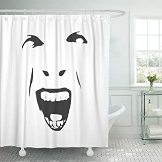 Emvency Fabric Shower Curtain with Hooks Demonic Ugly Face Devil Scream Character Demon Monster Screaming Open Mouth As Front Extra Long 72