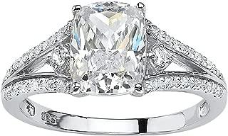 Platinum over Sterling Silver Emerald Cut Cubic Zirconia Split Shank Engagement Ring