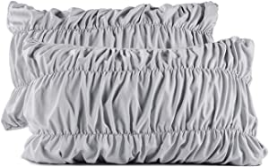 Cozyholy Duvet Cover Luxury Soft Silky Ruffle Embroidered Grey Bedding Linens Breathable Polyester Wrinkle-Free Fade Resistant Cover Collection, 3-Pieces (Gray, King)