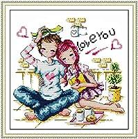 クロスステッチ, クロスステッチキット、ロマンチックなカップル、寝室の印刷ネジ刺繍、純綿装飾的な絵画、リビングルームの寝室装飾絵画 (Size : 14CT white cloth 28×27CM)
