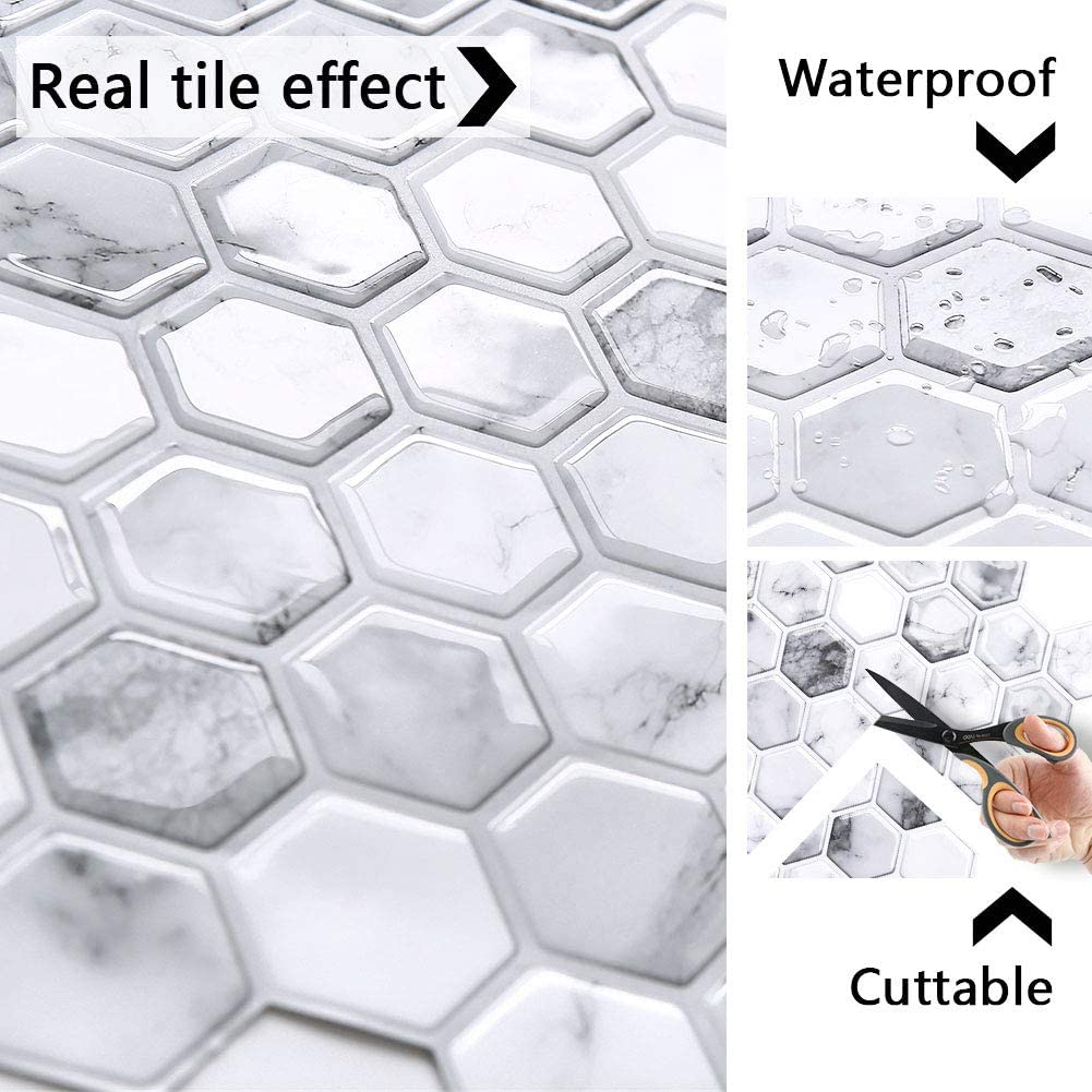 Hexagon White Marble 3D Mosaic Self Adhesive Tiles for Kitchen and Bathroom Yoillione Peel and Stick Wall Tiles Stickers Waterproof 3D Stick on Tile Backsplash