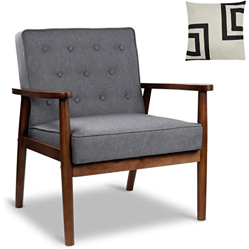 Esright Mid Century Accent Chair Wooden Modern Living Room Fabric Arm Chair White Accent Chair with Arm Beige White
