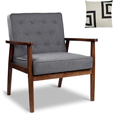 """Mid-Century Retro Modern Accent Chair Wooden Arm Upholstered Tufted Back Lounge Chairs Seat Size 24.4"""" 18.3"""" (Deep)"""