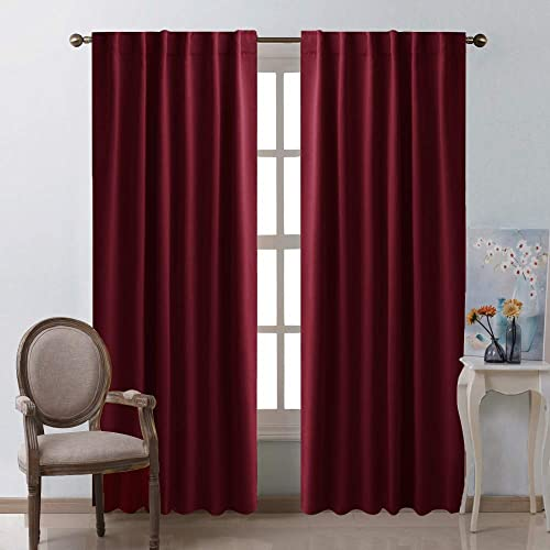 900c93eaf30748 NICETOWN Burgundy Curtains Blackout Draperies Panels - (Burgundy Red Color)  for Christmas & Thanksgiving