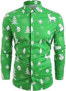 Men's Slim Fit Long Sleeve T-Shirt Christmas Floral Shirt Casual Button Down Dress Shirts Fashion Tees Blouse