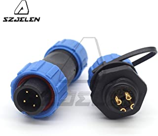 SZJELEN SP13 2pin/3pin/4pin/5pin/6pin/7pin/ 9pin Outdoor Electrical Equipment Power Cable Connector Male and Female,Waterproof Connector Cable Gland Cap (4pin, Panel Mount-Plug(Male)&Socket(Female))