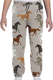 DHIAJSA Youth 3D Abstract Stallions Simple Design Equestrian Animals Galloping Curvet Illustration Joggers Pants Trousers Sport Track Sweatpants Baggy