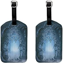 2 PCS Waterproof luggage tag Fantasy House Decor Passage Doorway Through Enchanted Foggy Magical Palace Garden Night Scenery Easy to carry Navy Gray