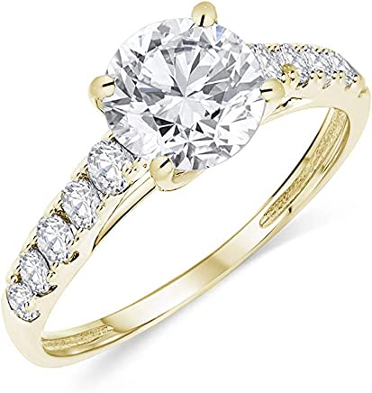 Buy Jewels 14k Authentic Gold Engagement Ring Round Solitaire AAA+ Cubic Zirconia