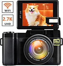 Digital Camera with WiFi 24.0 MP Vlogging Camera 2.7K Ultra HD 3.0 Inch Camera with Flip Screen Retractable Flashlight (Micro sd Card is not Included) (W1)