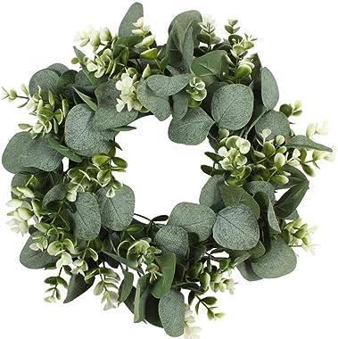 Faruxue Artificial Green Eucalyptus Leaf Wreath, 42 cm Wreath Wall Hanging Wreath, Door Decoration for Indoor Outdoor, Artifi