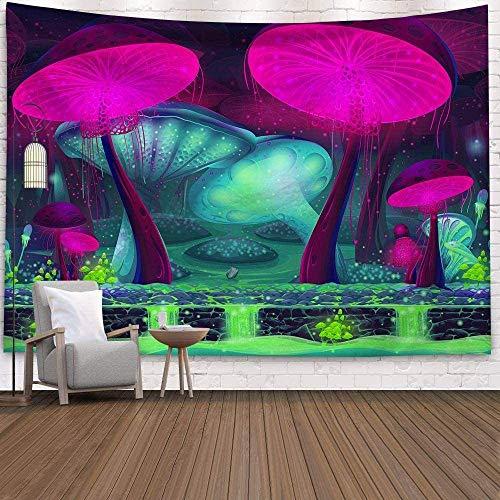 KINGAM Tapiz de pared para colgar en la pared, hippie, bohemio, psicodélico, bohemio, morado, verde, cascada, setas y bosques, tela para decoración de habitación, sala de estar, 230 x 150 cm