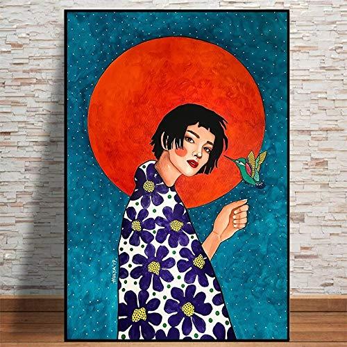 wZUN Cartel Retro Chica Pelo Flor Mujeres Arte de la Pared Lienzo Pintura Cartel nórdico Cuadro de Pared 60X90 Sin Marco