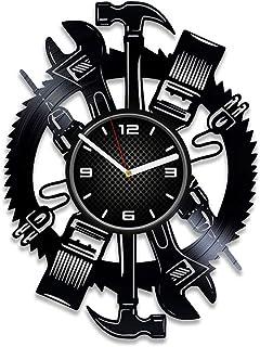 DecorStudioUA Mechanic Tools Vinyl Record Wall Clock Car Gift 12 inch Clock Mechanic Tools Wall Clock Vintage Car Clock Me...