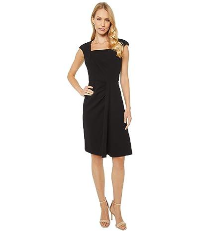 Calvin Klein Square Neck Dress with Ruching Detail (Black) Women