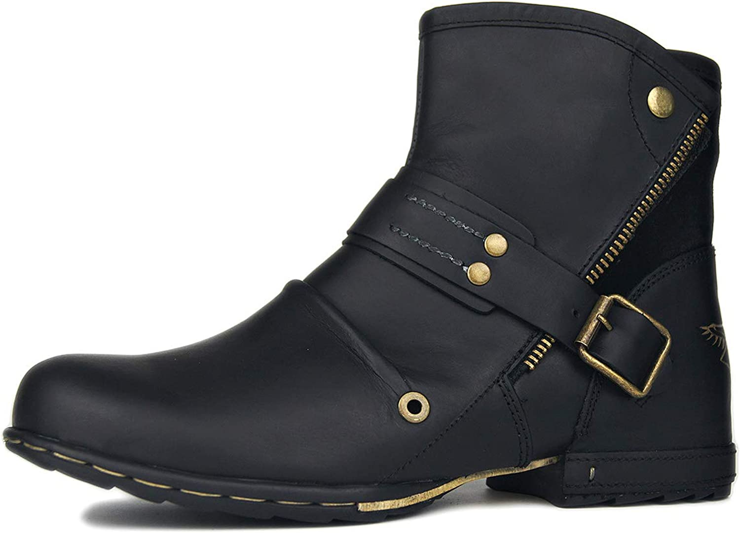 OTTO ZONE Motorcycle Zipper Retro Low Boots Men Leather Chukka Mechanic Western Boots Space Slip On shoes OZ-5008-7