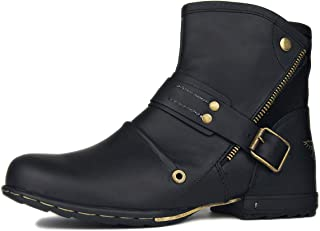 OTTO ZONE Moto Boots for Men Leather Chukka Boots Dual Side Velcro Casual Shoes OZ-5008-7