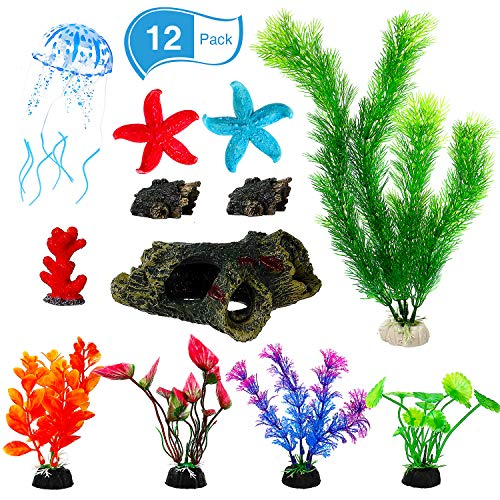 WILLBOND 12 Pieces Aquarium Ornament Kit Imitated Wood Cave Tree Trunk Artificial Plastic Plants Silicone Glowing Jellyfish Resin Starfish Coral for Fish Tank