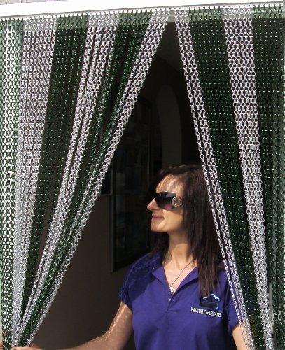 Holland Plastics Original Brand 'Grün und Silber'- Kettenvorhang aus Aluminium/Sichtschutz/Insektenschutz- 100 cm breit