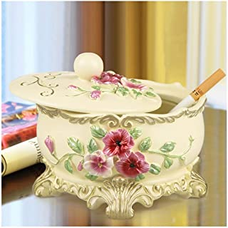 Ashtray, European Company Creative Decoration Ashtray with Pink Blue Ashtray Beige Cover Beige Living Room Office Home 13.5X11CM (Color: Pink),Colour:Blue (Color : Beige)