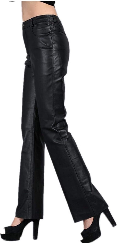 DESTRB Genuine Leather Pants Autumn Sheepskin Pants Mid Waist Casual Pants Womens Soft Leather Pants Women Flare Trousers (Color : Black, Size : X-Large)