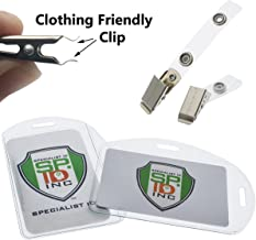 10 Pack - Clear Durable Plastic ID Badge Holders - Vertical OR Horizontal with Clothing Friendly Metal & PVC Strap Clips - for 2.25 X 3.5 Inch Name Tags & Work Access Cards, by Specialist ID