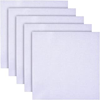 5 Pieces Cross Stitch Fabric Embroidery Fabric Aida Cloth Cross Stitch Supplies Fabric Squares 12 by 12-Inch, 11 Count, White
