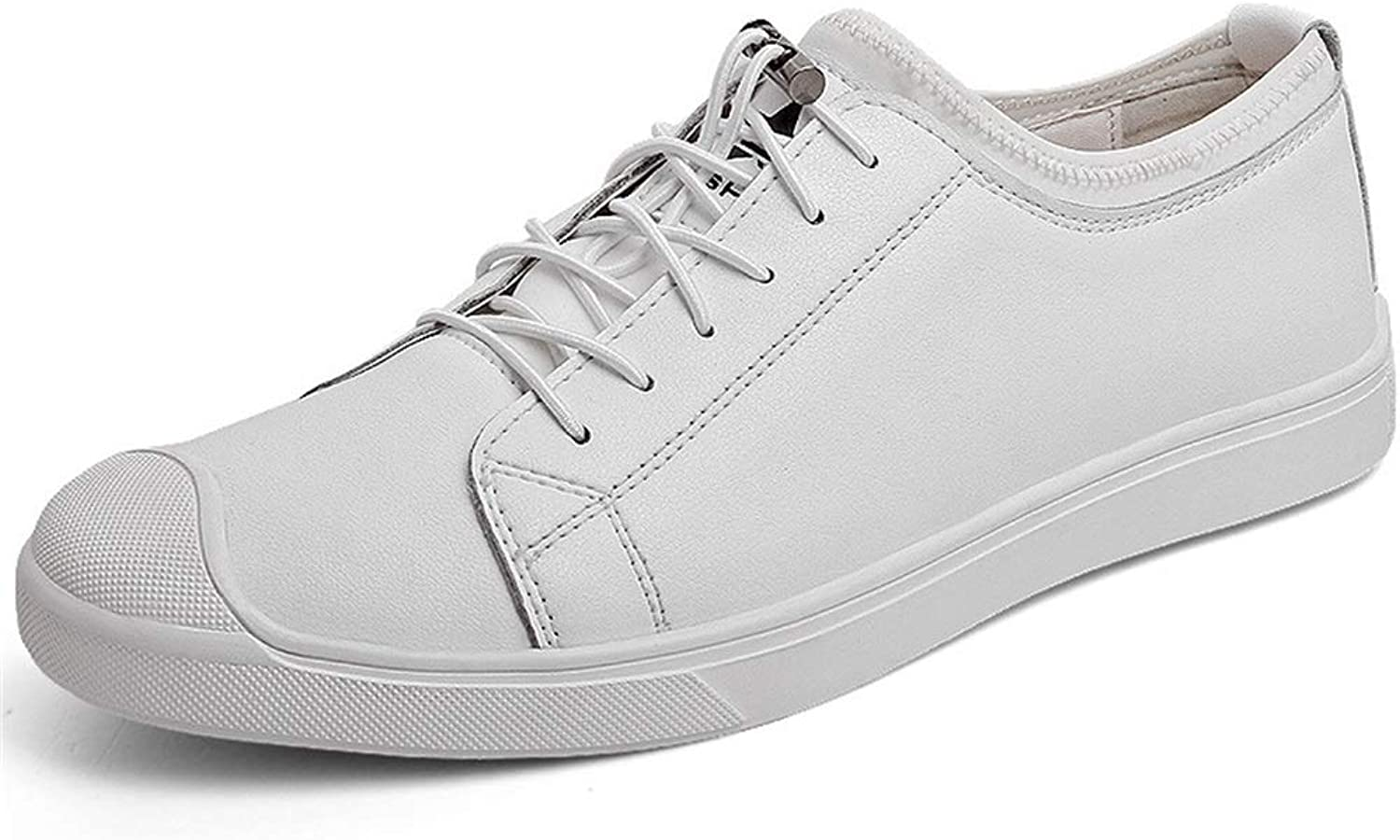 Men's Deck shoes, Low-top Leather shoes Anti-Slip Loafers & Slip-Ons Business Casual shoes Low-top Casual shoes Black White YAN (color   White, Size   41)