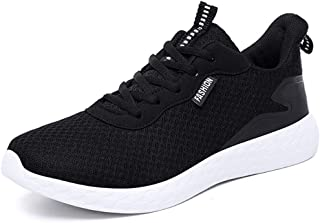 XUJW-Shoes, Fashion Sneakers for Men Low Top Walking Sport Shoes Elastic Casual Lace Up Mesh Round Toe Anti-Slip Breathable Lightweight Durable Travel Classic (Color : Black, Size : 9.5 UK)