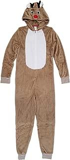 North Pole Mens Christmas Reindeer Costume Fleece Union Suit Holiday Pajamas