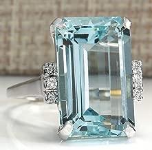 Zhiwen Vintage Fashion Women 925 Silver Aquamarine Gemstone Ring Engagement Wedding Jewelry Size 5-11 (7#)
