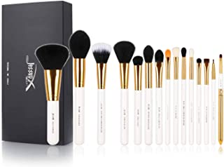 Jessup White Makeup Brushes Set, Premium Synthetic Powder Foundation Highlighter Eyeshadow Blending Eyeliner Lip Brush 15pcs T103