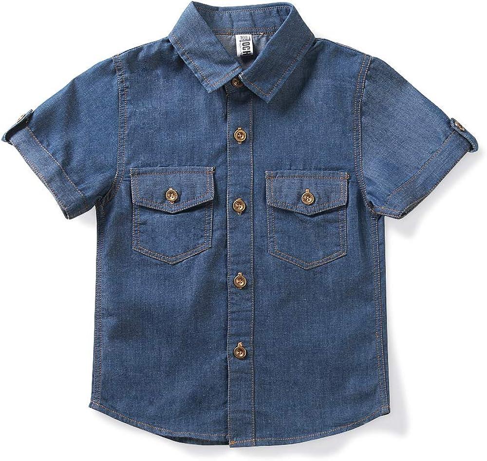 OCHENTA Boys' Short Lowest price challenge Sleeve Button Denim Down Lightweight Shirts Sale special price