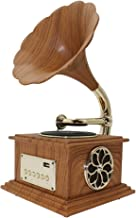 Phonograph Gramophone Bluetooth 4.2 Record Player Music Dynamic Stereo Speaker, Mini Metal Retro Style Audio Cable Home Office Club Bar Decor Ornaments